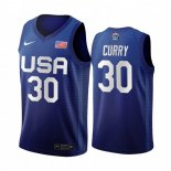 Maillot 2020 Jeux Olympiques Tokyo USMNT NO.30 Stephen Curry Bleu