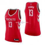 Maillot Femme Houston Rockets No.13 James Harden Rouge Icon