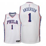 Maillot Enfants Philadelphia Sixers NO.1 Justin Anderson Blanc Association 2018