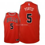 Maillot Enfants Chicago Bulls NO.5 Bobby Portis Rouge Icon 2018