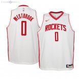 Maillot Enfants Houston Rockets NO.0 Russell Westbrook Blanc Association 2019/2020