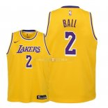Maillot Enfants Los Angeles Lakers NO.2 Lonzo Ball Jaune Icon 2018-19