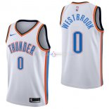 Maillot Oklahoma City Thunder Nike NO.0 Russell Westbrook Blanc Association