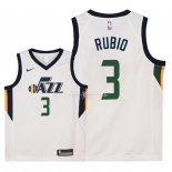 Maillot Enfants Utah Jazz NO.3 Ricky Rubio Blanc Association 2018