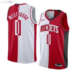 Maillot Houston Rockets NO.0 Russell Westbrook Rouge Blanc Split Edition