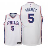 Maillot Enfants Philadelphia Sixers NO.5 Landry Shamet Blanc Association 2018