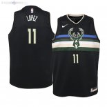 Maillot Enfants Milwaukee Bucks NO.11 Brook Lopez Noir Statement 2019/2020