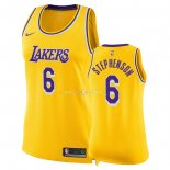 Maillot Femme Los Angeles Lakers NO.6 Lance Stephenson Jaune Icon 2018-19