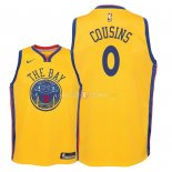 Maillot Enfants Golden State Warriors NO.0 DeMarcus Cousins Nike Jaune Ville 2018