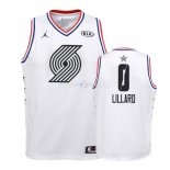 Maillot Enfants 2019 All Star NO.0 Damian Lillard Blanc