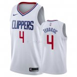 Maillot Los Angeles Clippers Nike NO.4 Milos Teodisic Blanc Association 2018