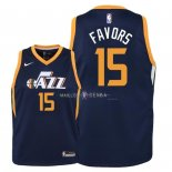 Maillot Enfants Utah Jazz NO.15 Derrick Favors Marine Icon 2018