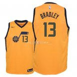 Maillot Enfants Utah Jazz NO.13 Tony Bradley Jaune Statement 2018