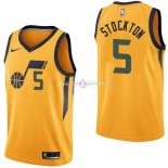 Maillot Utah Jazz Nike NO.5 David Stockton Jaune Statement