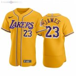 Maillot NBA Lakers x MLB Manche Courte NO.23 Lebron James Jaune 2020