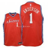 Maillot Enfants Philadelphia Sixers NO.1 Justin Anderson Rouge Statement 2018