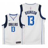 Maillot Enfants Dallas Mavericks NO.13 Jalen Brunson Blanc Association 2018