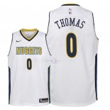 Maillot Enfants Denver Nuggets NO.0 Isaiah Thomas Blanc Association 2018