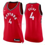Maillot Femme Toronto Raptors NO.4 Lorenzo Brown Rouge Icon 2018