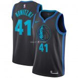Maillot Enfants Dallas Mavericks NO.41 Dirk Nowitzki Nike Anthracite Ville 2018-19
