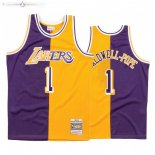 Maillot NBA L.A. Lakers NO.1 Kentavious Caldwell Split Pourpre Jaune