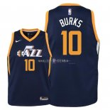 Maillot Enfants Utah Jazz NO.10 Alec Burks Marine Icon 2018