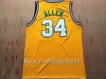 Maillot Seattle Supersonics No.34 Ray Allen Retro Jaune