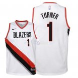 Maillot Enfants Portland Trail Blazers NO.1 Evan Turner Blanc Association 2018