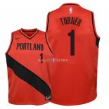 Maillot Enfants Portland Trail Blazers NO.1 Evan Turner Rouge Statement 2018