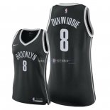 Maillot Femme Brooklyn Nets NO.8 Spencer Dinwiddie Noir Icon 2018