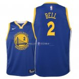 Maillot Enfants Golden State Warriors NO.2 Jordan Bell Bleu Icon 2018