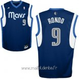 Maillot Dallas Mavericks No.9 Rajon Rondo Bleu Profond