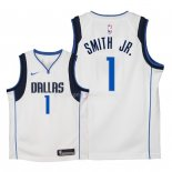 Maillot Enfants Dallas Mavericks NO.1 Dennis Smith Jr Blanc Association 2018