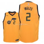 Maillot Enfants Utah Jazz NO.2 Joe Ingles Jaune Statement 2018