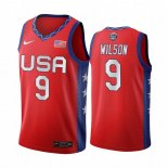 Maillot 2020 Jeux Olympiques Tokyo USMNT NO.9 A'ja Wilson Rouge