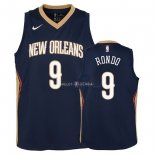 Maillot Enfants New Orleans Pelicans NO.9 Rajon Rondo Marine Icon 2018