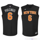 Maillot New York Knicks NO.6 Kristaps Porzingis Noir Orange