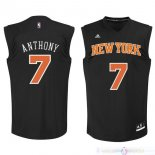 Maillot New York Knicks NO.7 Carmelo Anthony Noir Orange