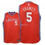 Maillot Enfants Philadelphia Sixers NO.5 Landry Shamet Rouge Statement 2018