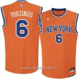 Maillot New York Knicks No.6 Kristaps Porzingis Orange