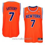 Maillot New York Knicks No.7 Carmelo Anthony Orange Bleu