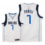 Maillot Enfants Dallas Mavericks NO.7 Dwight Powell Blanc Association 2018