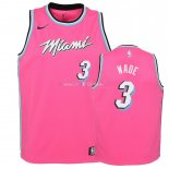 Maillot Enfants Earned Edition Miami Heat NO.3 Dwyane Wade Rose 2018-19