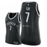Maillot Femme Brooklyn Nets NO.7 Jeremy Lin Noir Icon 2018