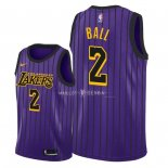 Maillot Enfants Los Angeles Lakers NO.2 Lonzo Ball Nike Pourpre Ville 2018-19