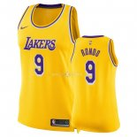 Maillot Femme Los Angeles Lakers NO.9 Rajon Rondo Jaune Icon 2018-19