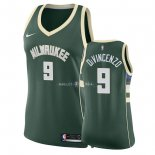 Maillot Femme Milwaukee Bucks NO.9 Donte DiVincenzo Vert Icon 2018