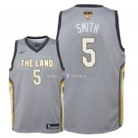 Maillot Enfants Cleveland Cavaliers Finales Champions 2018 NO.5 JR. Smith Nike Gris Ville Patch