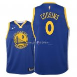 Maillot Enfants Golden State Warriors NO.0 DeMarcus Cousins Bleu Icon 2018