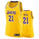 Maillot Femme Los Angeles Lakers NO.21 Travis Wear Jaune Icon 2018-19